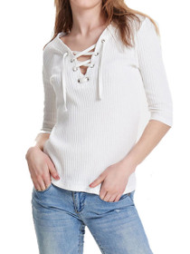 Koko Rib Lace Up 3/4 Top