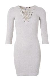 Razz Rib 3/4 Lace Up Dress