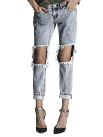 Freebirds Trashed Denim Skinny in Blue Malt