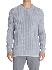 Cable Knit Long Sleeve Crew Neck Sweater