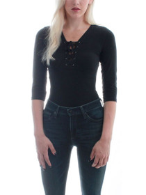 Free Spirit 3/4 Sleeve Lace Up Bodysuit