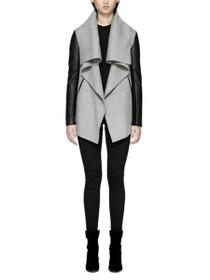 Vane Wool Coat With Leather Sleeves