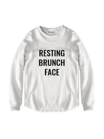 Resting Brunch Face Graphic Raw Edge Sweatshirt