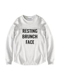 Resting Brunch Face Graphic Raw Edge Sweatshirt