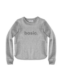 Basic Graphic Raw Edge Cropped Sweatshirt