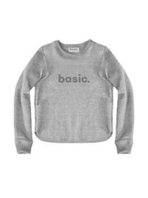 Basic Graphic Raw Edge Cropped Sweatshirt