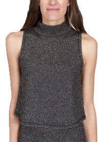 Gavel High Neck Sleeveless Crop Top