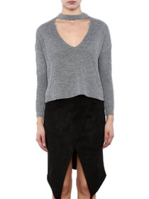 Jupiter Cropped Choker Knit Sweater