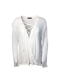 Hart Lace-Up Long Sleeve Sheer Blouse