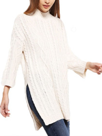 Bobos 3/4 Sleeve Funnelneck Long Knit Blouse