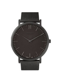The Mesh Minimalist Watch in Matte Black/Black