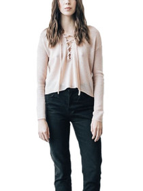 Christie Lace-Up Cropped Knit Sweater