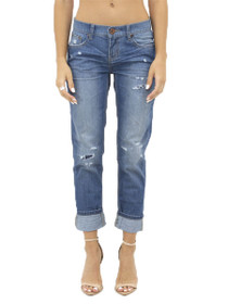 Awesome Baggies Distressed Boyfriend Denim in Blue Cult
