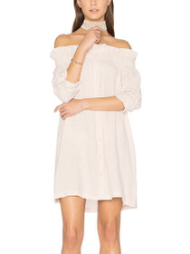 Business Class Off The Shoulder Button Up Dress