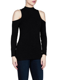 Edell Cold Shoulder High Neck Top
