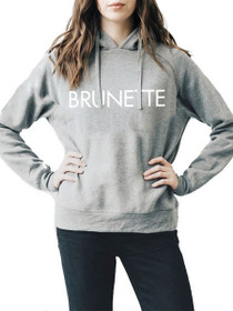 Exclusive* Printed Brunette Middle Sister Hoodie in Grey