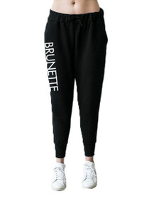 Printed Brunette Middle Sister Jogger in Black