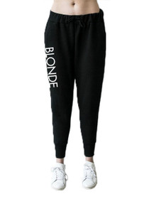 Printed Blonde Middle Sister Jogger in Black