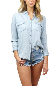 Marley Fray Hem Denim Button Up Shirt