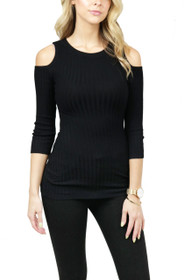Shanna Cold Shoulder Ribbed Top
