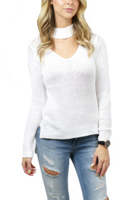 Tora Choker High-Low Knit Sweater
