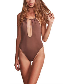 Bardot Key Hole Halter One Piece Swimsuit