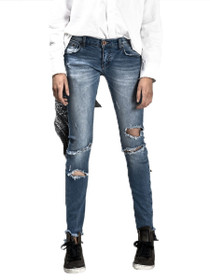 Hoodlums Skinny Distressed Denim in Blue Stone