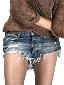 Rollers Distressed Denim Shorts in Royale