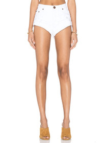 Bandits Rolled Denim Shorts in White Beauty