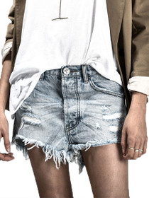Outlaws Distressed Denim Shorts in Blue Heart