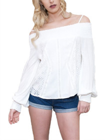 Whispering Off The Shoulder Crochet Blouse