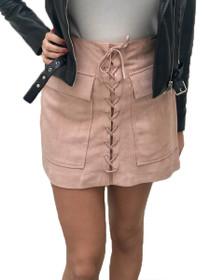 Stevie Vegan Suede Lace-Up Mini Skirt