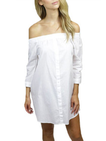 Tiffany 3/4 Off The Shoulder Button Up Dress