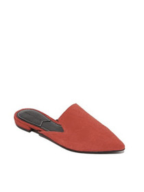 Prism Pointed Toe Suede Mules in Red
