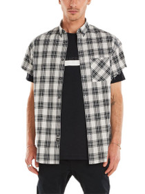 Rugger Cut-Sleeve Plaid Button Up Shirt