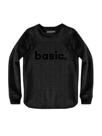 Basic Graphic Raw Edge Sweatshirt