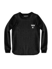 Tired AF Graphic Raw Edge Sweatshirt