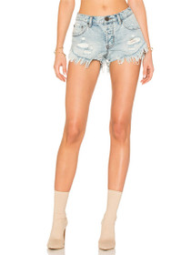 Brandos Raw Edge Denim Shorts in Blue Hart