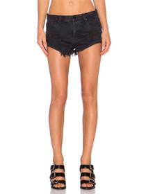 Bandits Distressed Denim Shorts in Fox Black