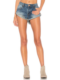Bandits Distressed Denim Shorts in Dusty Blue