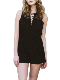 Lily Vegan Suede Lace-Up Playsuit