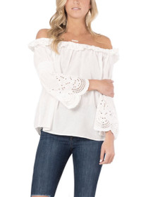 Lux Off The Shoulder Crochet Ruffle Top
