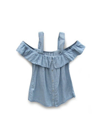 Million Reasons Cold Shoulder Chambray Stripe Top