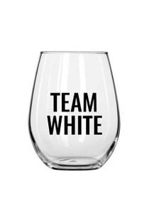 Team White Plastic Stemless Wine Glass
