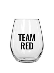 Team Red Plastic Stemless Wine Glass