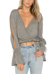 Chateau Wrap V-Neck Long Sleeve Sweater