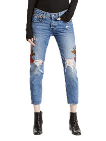501 Embroidered Cropped Taper Denim in Custom Blue