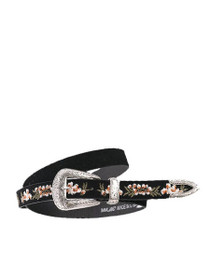 Embroidered Western Suede Belt