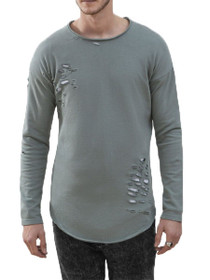 Slashed Distressed Pullover Sweater