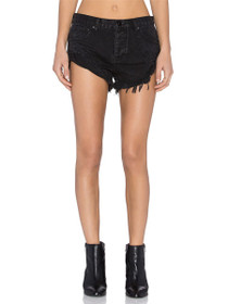 Bandits Distressed Denim Shorts in Black Oak